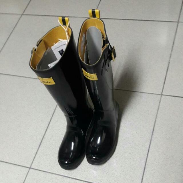 全新正品Joules亮面黑色雨靴