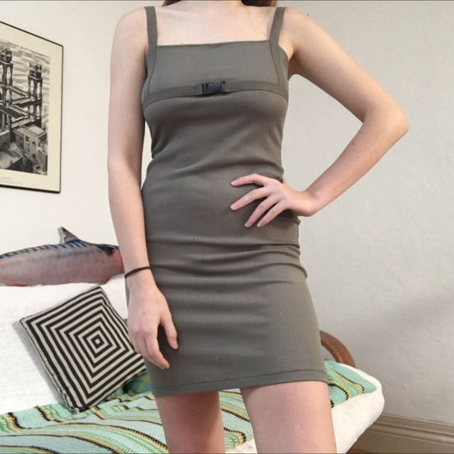 Khaki Green Slip Dress With Buckle Sz S 8-10