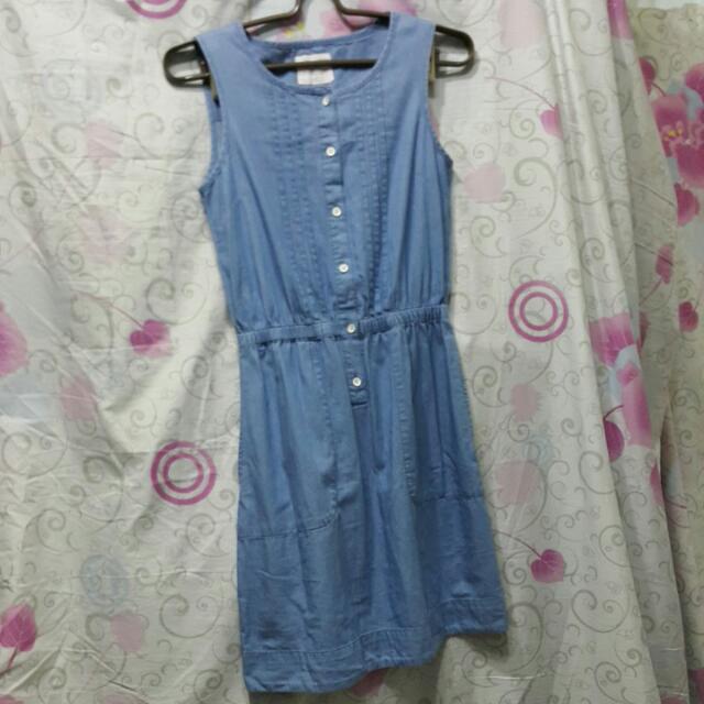 (保留待匯)Lativ淺水藍單寧連身洋裝
