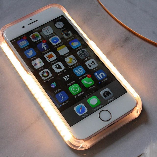 Lumee IPhone Case IPhone 5 5S 6 6S LED Selfie Case BLACK GOLD