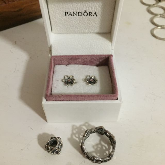 PANDORA Earrings And Charm *RING SOLD