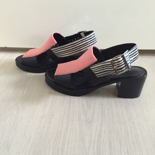 Pink, Black And White Heeled Sandals