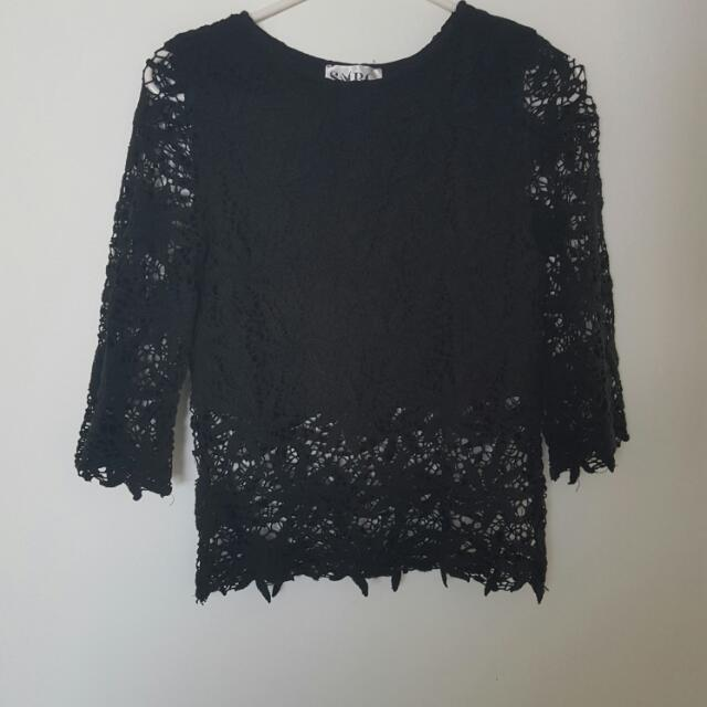 SaboSkirt Black Lace Top