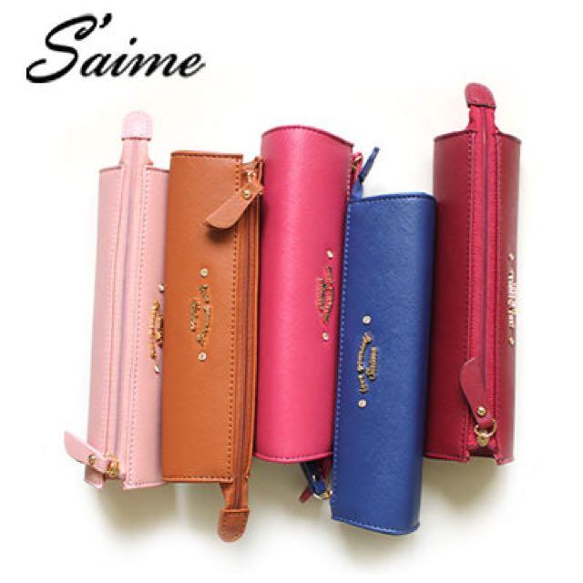 Saime 東京企劃 Christina系列 水鑽LOGO鉛筆盒 化妝包 補妝包 - 粉色