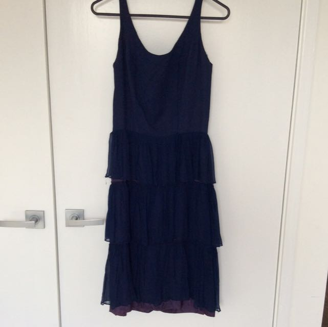 Vintage Navy Blue Layered Dress Sz 8