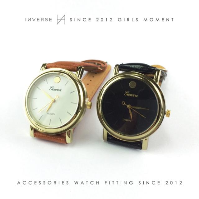 W0301-歐美簡約圓點文青素面圓錶