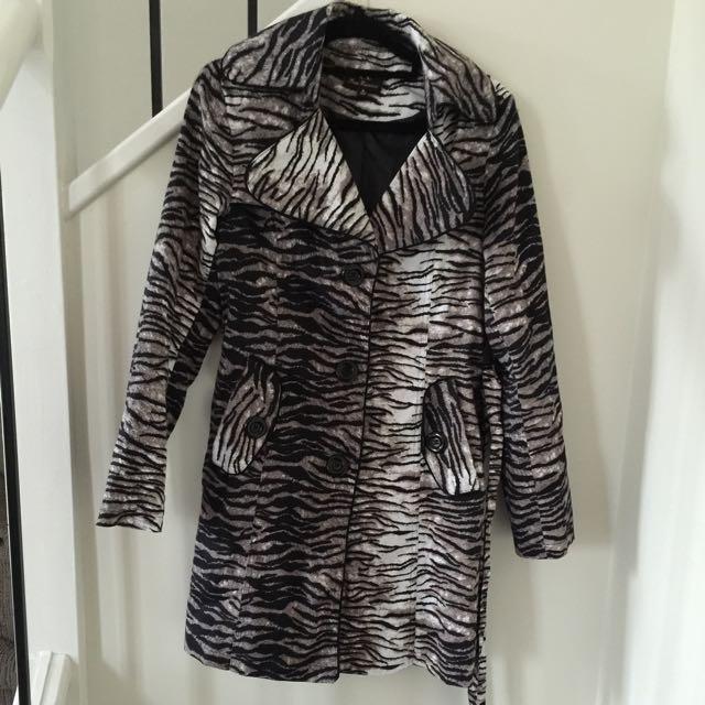 Zebra Patterned Coat/Trench