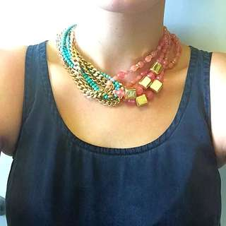 Mimco Peach And Turquoise Necklace