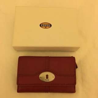 哈美族 全新 FOSSIL 經典鑰匙系列 紅色真皮 多用途三折 中夾/鈔票夾/零錢包