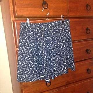 Navy Skirt, Neutral Floral