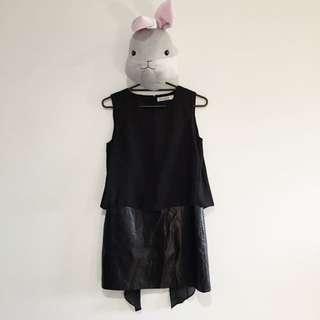 Jovonnista PU leather Black Dress With Chiffon