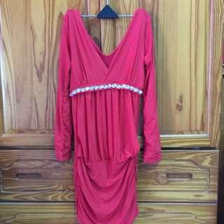 紅色深V洋裝