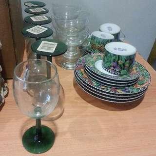 Wine glass,tea cups with saucer, ice cream cups