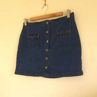 'Subtitled' Dark Denim Skirt