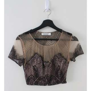 WHOIAM - Lace/Mesh Crop Top