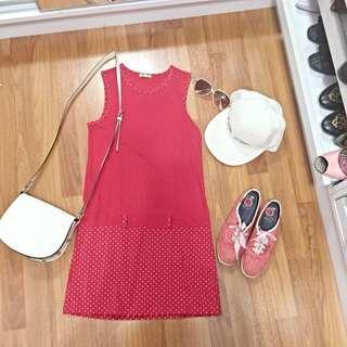 Gallop 紅色 點點 運動風 海軍風 連身裙 長版上衣