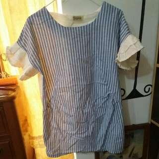 條紋長版襯衫材質