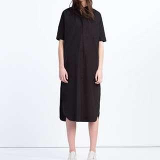 Zara黑色超長版襯衫