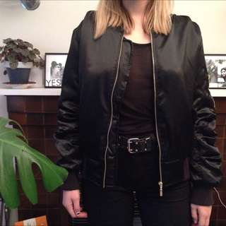 Faux Fur Lined Bomber Jacket Size 10-12
