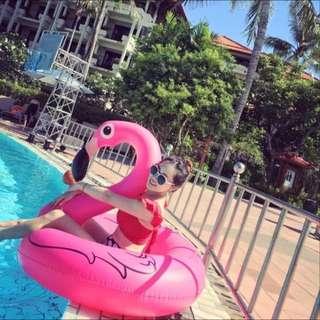 夏天海邊必備紅鶴 游泳圈