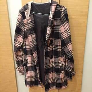粉色格陵蘭長版外套