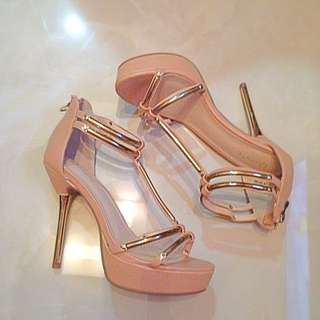 New High heels(Nude pink X Gold)