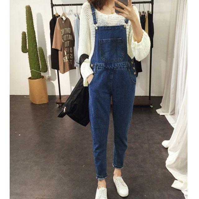 韓版時尚簡約純色百搭磨痕個性口袋牛仔背帶褲牛仔褲長褲