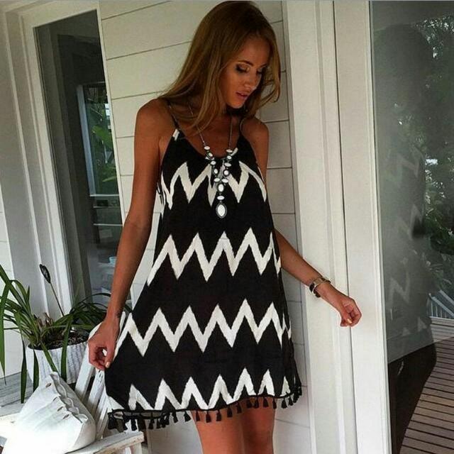歐美波浪紋流蘇性感沙灘裙