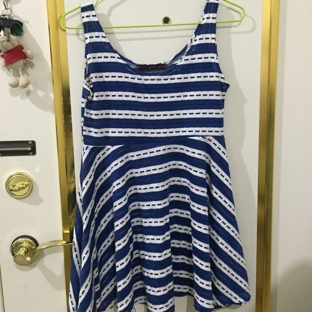 背心條紋裙