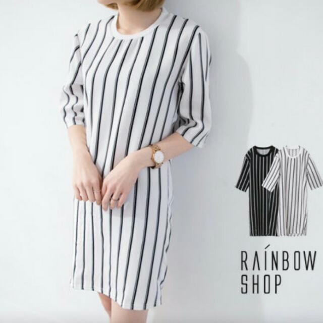 黑白條紋 長版上衣