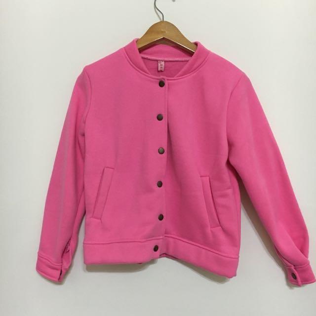 ⚠️含運 粉色素面棒球外套
