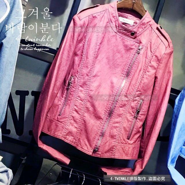 轉賣 全新韓國粉嫩春之饗宴修身顯瘦皮衣外套