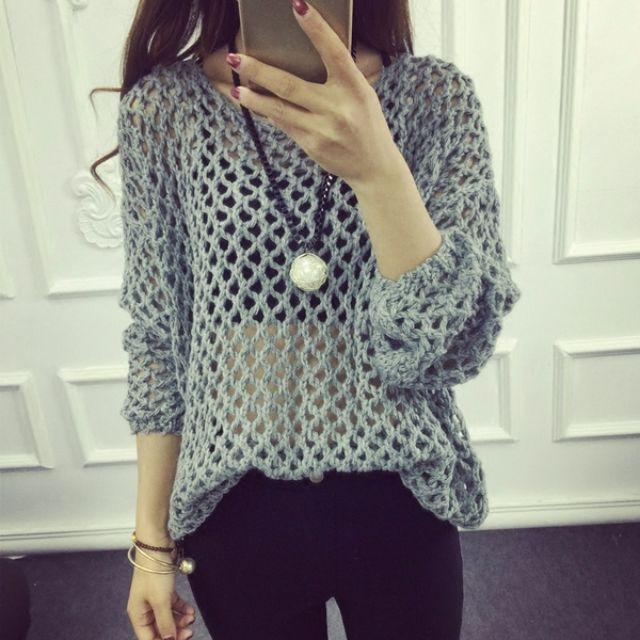全新春裝  鏤空寬松百搭毛衣洞洞針織衫罩衫