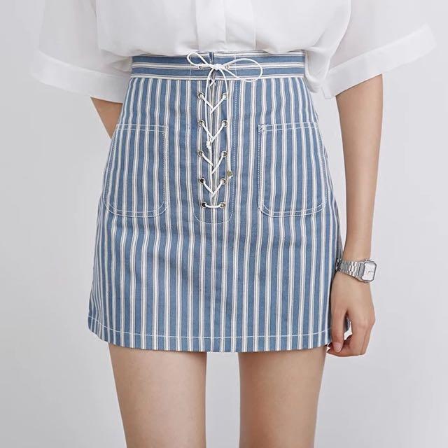 超美💓高腰裙 a字裙 綁帶裙 短裙  條紋短裙