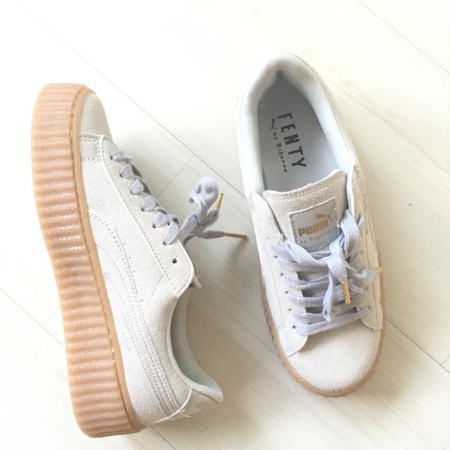 a416929dbe1b Puma Rihanna Fenty Suede Light Grey Platforms Creepers Sneakers ...