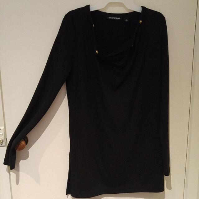 Country Road Black Dress/Long top - Size S