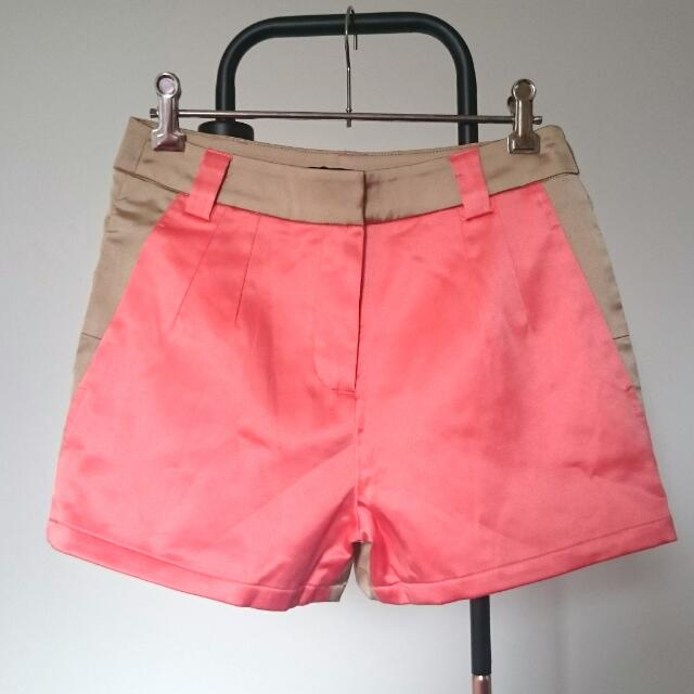 Hello Parry Gold And Coral High Waisted Shorts