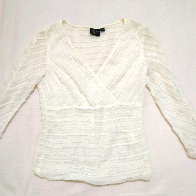 iRoo 白色 7分袖 絲質上衣