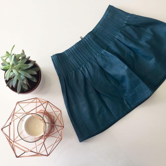 Lulu & Rose Teal Leather Mini Skirt
