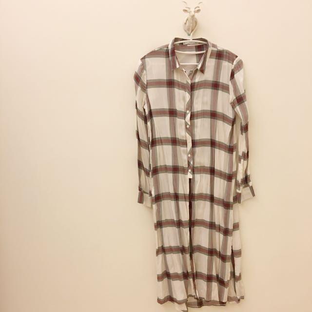 (轉售)Mango酒紅米白格子長版襯衫罩衫