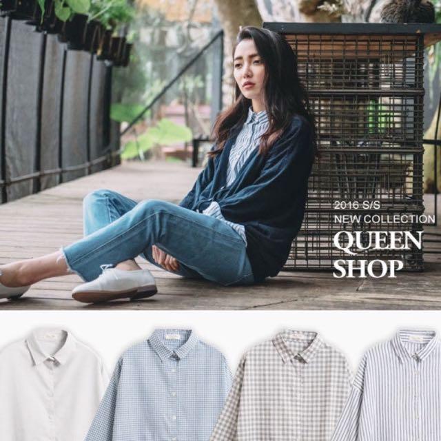 Queenshop內插口袋襯衫