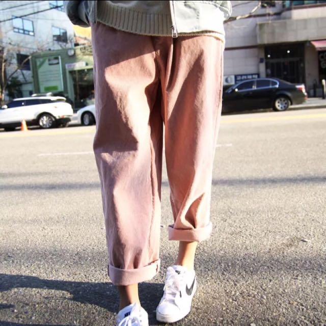 韓國Ulzzang復古燈芯絨寬鬆百搭哈倫褲