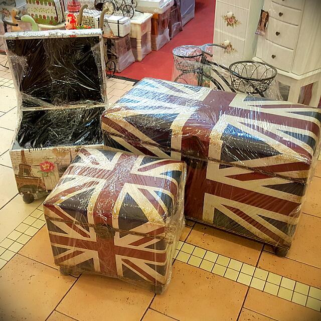 photo photo photo photo photo & UNION JACK Soft Leather Storage Box / Foot Stool Vintage ...