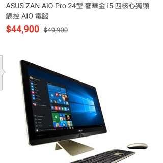 "ASUS ZAN Pro AIO 24型 (奢侈金i5獨顯)23.8""FHD(MULIT TOUCH)/i5-6400T/ DDR4 2133MHZ 8G(4G*2)/1TB(54)/ NV GTX960M 2G/W10/3Y"
