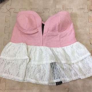 粉色蛋糕裙平口小可愛上衣
