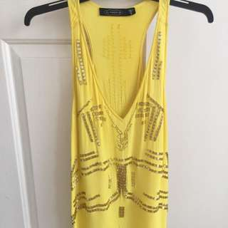 Glassons Long Sequin Yellow Top Small