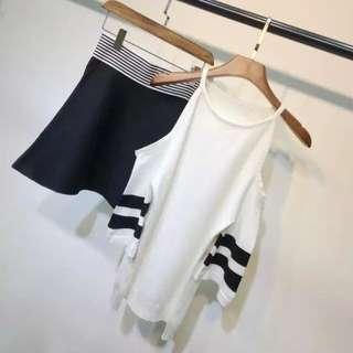 ⭐️韓版露肩針織顯瘦套裝⭐️