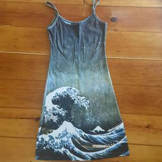 Amazing Dress with 'The Waves' Painting Print