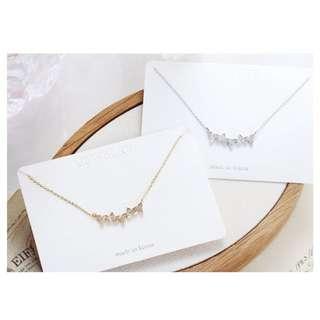 ForPrincess 韓國飾品氣質小三角帶鑽短鍊項鍊