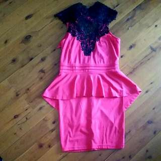 Fushia Peplum Dress Sz M